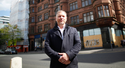 Developer Lawrence Kenwright outside the proposed George Best Hotel in Belfast