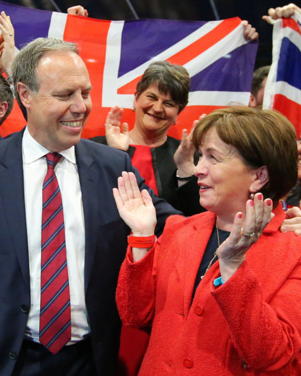 DUP MP Nigel Dodds and wife Diane celebrate 2017 election victory