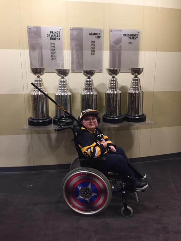 Ethan enjoying his trip to watch the Pittsburgh Penguins