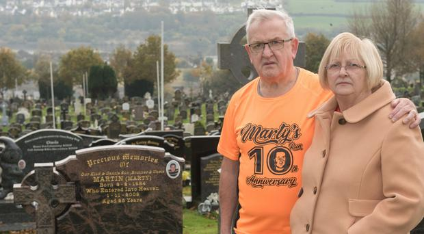 Elizabeth and Martin Gallagher's son Marty was killed by hit-and-run driver Jonathan Francis McGonigle 10 years ago
