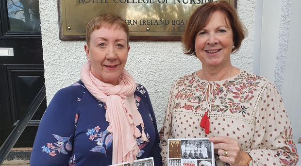 Heather Thompson and Margaret Graham from Royal College of Nursing's History of the Nursing Network Northern Ireland are campaigning for a permanent plaque at Belfast City Hall for nurses from the region who served in the First World War (Rebecca Black/PA)