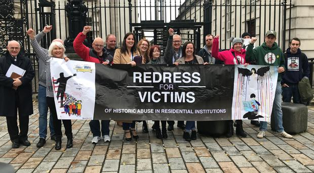 Survivors of historical institutional abuse outside the Court of Appeal (Rebecca Black/PA)