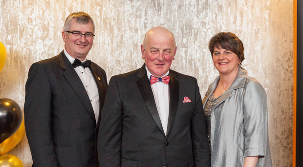 Grand Master of the Grand Orange Lodge of Ireland Edward Stevenson (centre) with DUP leader Arlene Foster and Tom Elliott of the UUP