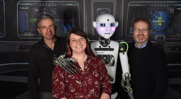 The first major Artificial Intelligence conference will take place in Belfast on 28 November. Included from left to right are Adrian Johnston, Digital Catapult, Gillian Armstrong, Liberty IT, and Tom Gray, Kainos. (hand out image)