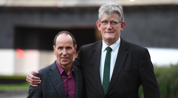 Rosetta Trust chairman Gerry McCann, left, and Survivors North West chairman Jon McCourt on College Green in Westminster, London (Kirsty O'Connor/PA)