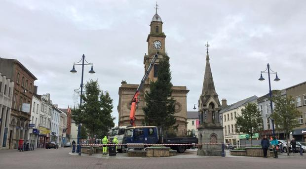 The tree in Coleraine was put up Thursday and taken down yesterday
