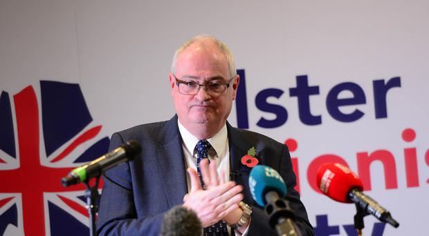 New Ulster Unionist Party leader Steve Aiken addresses members at the party conference at the weekend