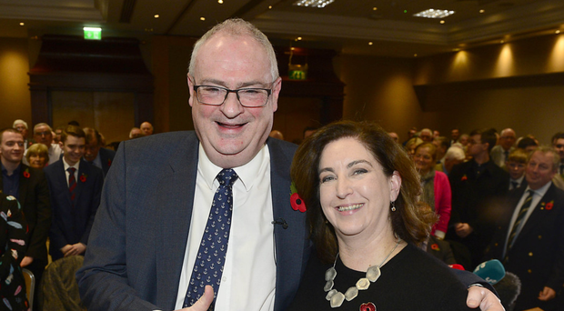 Steve Aiken and wife Beth at the Ulster Unionist Council meeting to ratify him as party leader