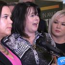 Michelle Gildernew (centre) speaking at the Sinn Fein candidate launch in Belfast alongside Mary Lou McDonald (left) and Michelle O'Neill (right)
