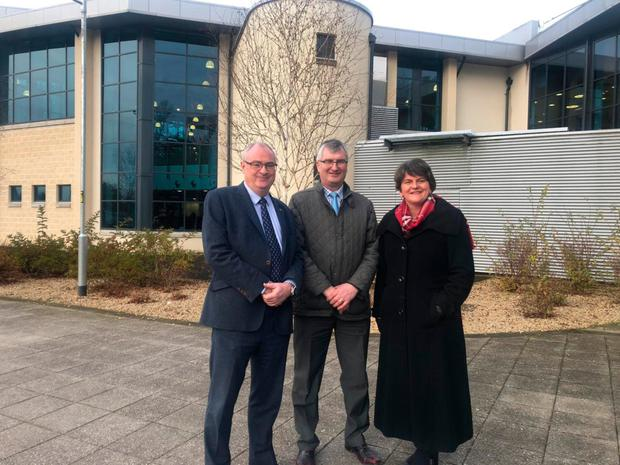 Steve Aiken, Tom Elliott and Arlene Foster yesterday