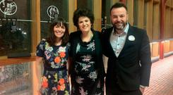 SDLP's Nichola Mallon, Claire Hanna and Colum Eastwood at launch last night