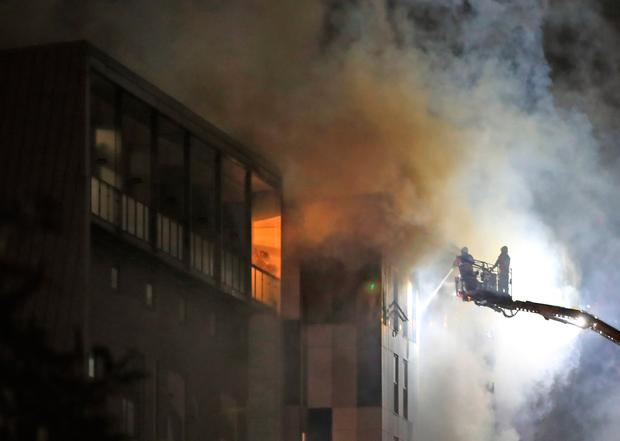 The fire at The Cube building in Bolton