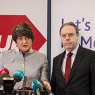 DUP leader Arlene Foster with party colleague Nigel Dodds (PA)