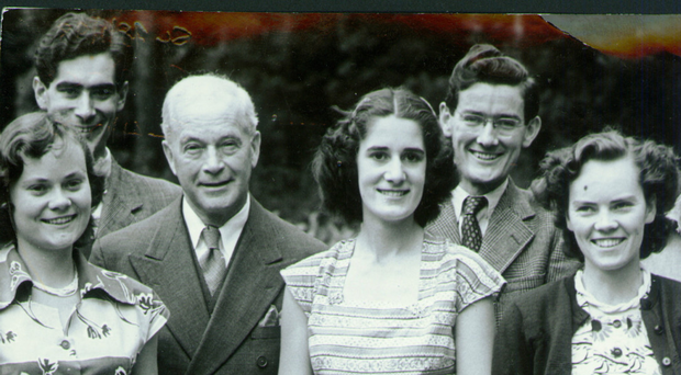 Patricia Curran (centre) with her family