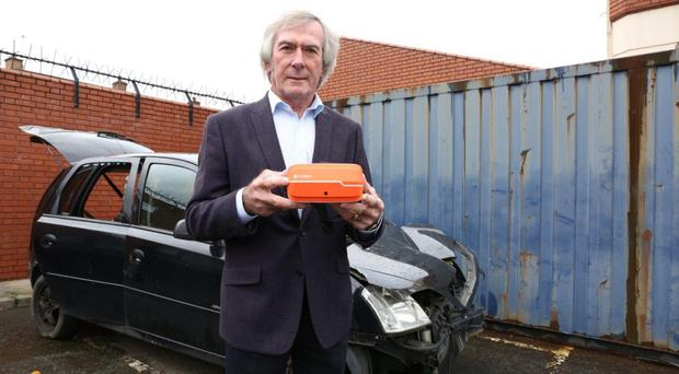 Pat Jennings with virtual reality technology to promote 2019 Road Safety Week