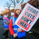 Nurses on strike over pay and staffing conditions in Dublin earlier this year