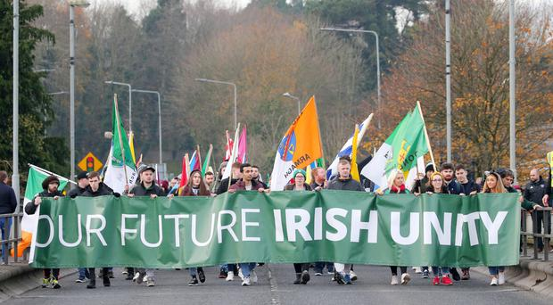 The march for Irish unity from Lifford to Strabane