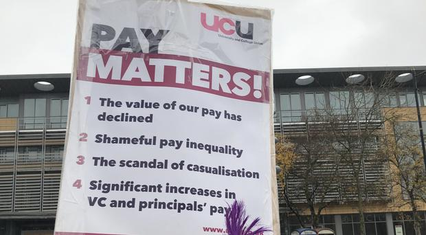 Members of Northern Ireland's largest health workers union have gone on strike over pay and staffing levels. University staff also took action (ICTU/PA)