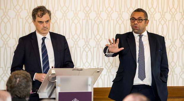 James Cleverly (right), chairman of the Conservative Party, with Secretary of State for Northern Ireland Julian Smith during the launch of the Northern Ireland Conservatives manifesto (Liam McBurney/PA)