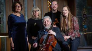 Writer Susan McKay, poet Moyra Donaldson, musician/ composer Neil Martin and composer Deirdre Gribbin with Ciaran Scullion from the Arts Council of Northern Ireland