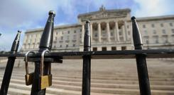 The locked gates at Stormont (Niall Carson/PA)