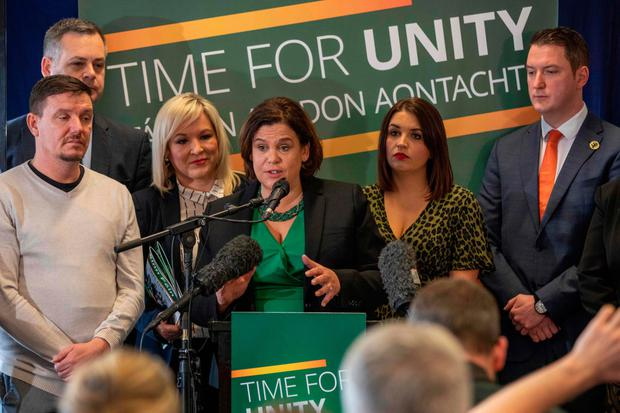 Sinn Fein's Mary Lou McDonald and Michelle O'Neill launch the party's General Election manifesto with colleagues in Londonderry yesterday