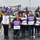 Unison members on strike outside the Ulster Hospital last month