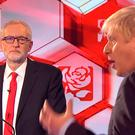 Jeremy Corbyn and Boris Johnson during the final TV debate last night