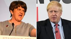 Arlene Foster accused Boris Johnson of breaking his word over his commitment to protect the union between Great Britain and Northern Ireland (PA)