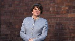 Arlene Foster, leader of the DUP at party headquarters in east Belfast.