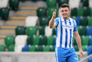Coleraine's Eoin Bradley playing in the Irish Cup semi-final on Monday