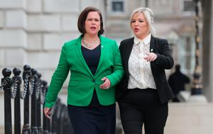 Sinn Fein's Mary Lou McDonald and Michelle O'Neill