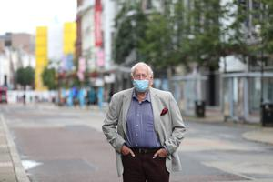 Journalist Alf McCreary in Belfast's Royal Avenue