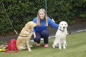 Active Club co-ordinator Judith Brennan with dogs Tara and Oushi.  Photo: Peter Morrison   Left, Brian Lenaghan and, below, Debbie Shaw and Patricia McKnight PETER MORRISON.