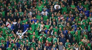 Northern Ireland fans celebrate a goal