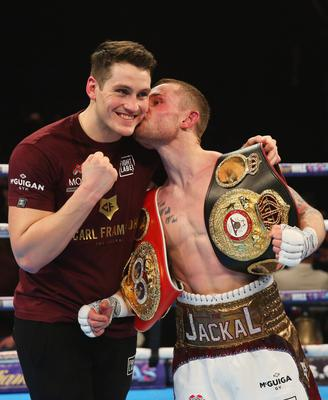 Happier times as Frampton celebrates with Shane after a victory in the ring