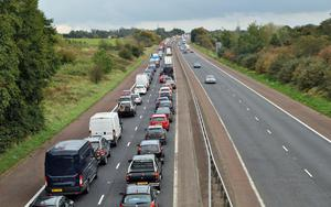 Gridlocked traffic on the Belfast-bound lane of the M2 motorway, near Sandyknowes roundabout, yesterday