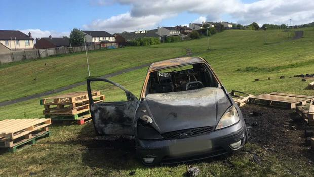 A burnt out car in Galliagh