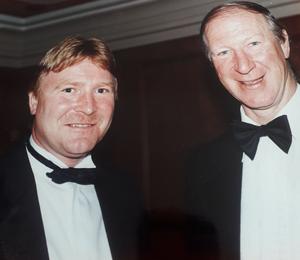 Talks to Belfast Telegraph sports editor Jim Gracey at a function