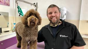 Chris Hughes of Ruff Cuts with Coco the cockapoo (David Young/PA)