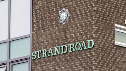 Strand Road Police Service of Northern Ireland station in Londonderry (Liam McBurney/PA)