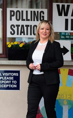 Sinn Fein northern leader Michelle O'Neill casts her vote