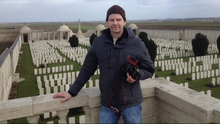 Gavin Patton at graveyard for soldiers of Great Warof