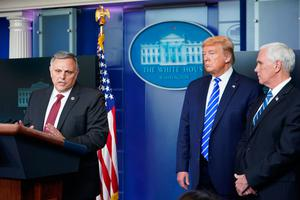 US President Donald Trump and US Vice President Mike Pence listen to Department of Homeland Security's Under Secretary for Science and Technology William N Bryan (left) at a daily coronavirus briefing