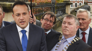 Taoiseach Leo Varadkar speaks to media in Londonderry on Saturday next to the mayor of Donegal, Gerry McMonagle