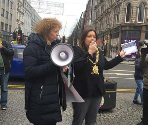 Lord Mayor Deirdre Hargey addresses a 'rights rally' outside Belfast City Hall (David Young/PA)