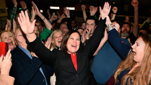 Sinn Fein's Mary Lou McDonald celebrates with supporters