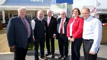 At Balmoral Show yesterday were Harry Sinclair of the Farm Safety Partnership, Brian Rohan from Embrace Farm, compere Paul Clarke, Liam McCarthy of ABP Food Group, Ann Doherty and William Sayersgo