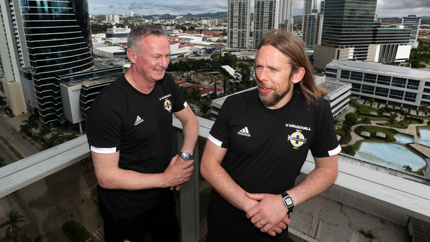 Northern Ireland manager Michael O'Neill and coach Austin MacPhee at the team hotel in Panama City