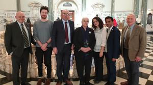 Remembering Srebrenica UK director Amil Khan, second right, and Munira Subasic, president of the Mothers of Srebrenica, centre, with Northern Ireland councillors (Remembering Srebrenica UK/PA)